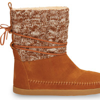 Chestnut Cable Knit Suede Women's Nepal Boots