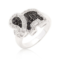 Black and White CZ Elephant Ring