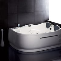 EAGO AM124-L  6' Double Corner Acrylic White Whirlpool Bathtub - Drain on Left