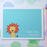 Lion I Miss You Card Handmade Greeting Card Cute Card Goodbye Card Thinking of You Card Fun Card Animal Pun Card Cute Lion Card