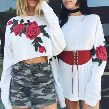 Floral Print White Long Sleeve Tops [11088087695]