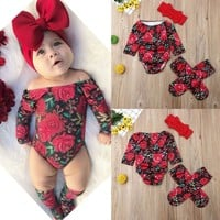 US Newborn Kid Baby Girl Floral Clothes Long Sleeve Romper Socks Outfit Holiday