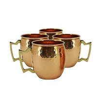 RV Hammered Copper Moscow Mule Mug with Brass Handle, 18oz, Pack of 4