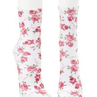 White Combo Floral Printed Crew Socks by Charlotte Russe