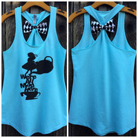 Alice in Wonderland Bow Back Tank Top, We're All Mad Here, Tank Top, Woman's, Disney Family Tees