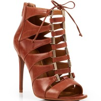 Enzo Angiolini Open Toe Ghillie Lace Up Caged Sandals - Nehan High Heel