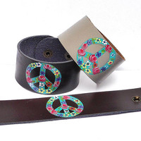 Peace Leather Cuff Bracelet Painted Colorful Flowers Boho Bohemian Jewelry FREE SHIPPING