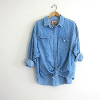 20% OFF SALE. vintage washed out denim jean shirt. pearl snap button down shirt. oversized pearl snap western shirt.