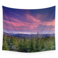 Society6 Spring Sunset At The Mountains Wall Tapestry
