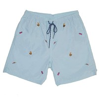 Sandbar Swimsuit in Antigua Blue with Embroidered Tropical Drinks by Castaway Clothing
