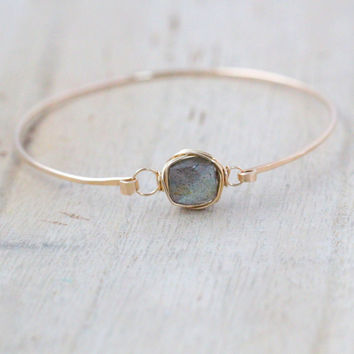 Labradorite Bezel Style Bangle