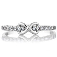 CZ Infinity Charm Petite Stackable Ring Band
