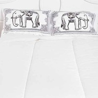 Eastern Elephant Pillowcase Set- Black & White One