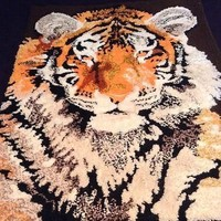 Vintage Handmade Tiger Rug or Wall Hanging