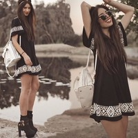 Summer Women's Fashion Black Short Sleeve Totem Print Patchwork One Piece Dress [6343425729]