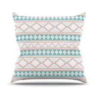 "Nika Martinez ""Yerbabuena"" Aqua Pink Throw Pillow"