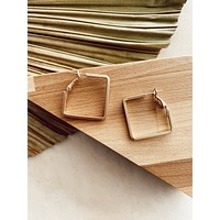 Square Hoops, Gold