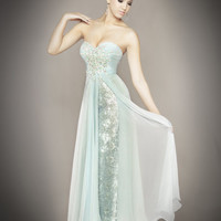 Ice Blue Chiffon & Lace Embellished Strapless Sweetheart Empire Waist Couture Dress - Unique Vintage - Cocktail, Pinup, Holiday & Prom Dresses.