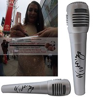 Victoria Autographed Microphone, WWE Champion, Proof