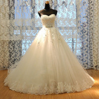 Custom Made Elegant Chapel Train Sweetheart Bridal Gown,A-line Lace Wedding Dress,Strapless Lace Bridal Wedding Gown with Beaded Belt