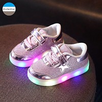 2018 Hot 1 to 5 years old fashion glowing kids sneakers high quality baby boy and girl casual shoes soft bottom toddler shoes