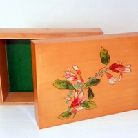 Vintage Lacquer Wood Box, Floral Wooden Jewelry Box, Pink White Flowers, Yellow Wood Trinket Box
