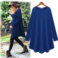 Women's Clothing Fashionable Plain Casual Dress Blouse Long-sleeve Loose Top Coat Celebrity style Plus size Various Colors Drop shipping