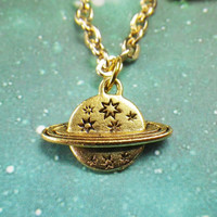 Gold Saturn Planet necklace