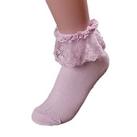 Lowpricenice Women Vintage Lace Ruffle Frilly Ankle Socks (White)