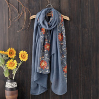 Fashion  Nepal Style Embroidered Scarf Women High Quality Warm Soft Scarves  Flower