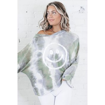 Find The Joy Gray Tie Dye Smiley Face Hoodie