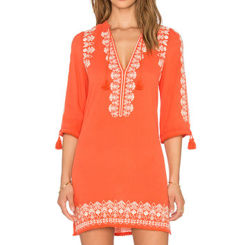 Spell & The Gypsy Collective Santorini Embroidered Tunic Dress in Burnt Orange