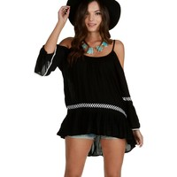 Sale-black Peasantries Tunic Top