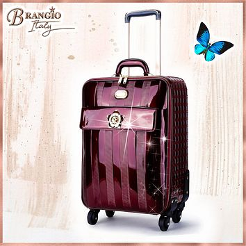 Floral Accent Light Weight Spinner Luggage