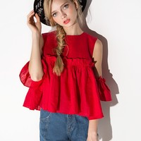 Red Mia Off The Shoulder Top
