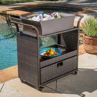 Wicker Bar Cart With Removable Ice Bucket Bin Outdoor Indoor Use Brown Finish