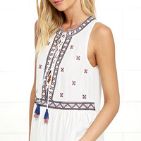 Cozumel Ivory Embroidered Top