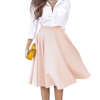 2017 New Simple Solid Color Empire Peach Pink/Black Pleats A Line Ladies Flared High Waist Midi Skirt For Women