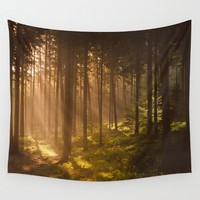 Morning forest Wall Tapestry by Tomas Hudolin