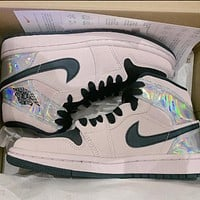 Air Jordan 1 Mid AJ1 Women's High-Top Pink Laser Sneakers
