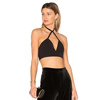 Fashion Solid Color Sleeveless Deep V Crisscross Halter Sports Small Vest Crop Tops
