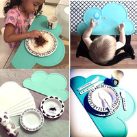 47*27cm Waterproof FDA Silicone Placemat Bar Mat Baby Kids Cloud Shaped Plate Mat Table Mat Set Home Kitchen Pads