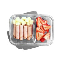 Bentgo Glass Snack (Gray) – 2-Compartment Bento-Style Glass Food Storage for Snacks and Small Meals | Ideal for Meal Prep, Leftovers, and Portion Control – FDA-Approved, BPA-Free, Food-Safe Materials