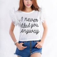 I never liked you anyway TShirt Crop Top Women Girls Gifts Tumblr Hipster Funny Fangirls Birthday Teens Teenager Bestfriend Girlfriend