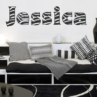 Zebra Print NAME or TEXT Wall / Car Decal Sticker, Highest Quality, Made in USA