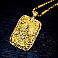 Masonic Tag Pendant Necklace Gold Tone Rhinestone