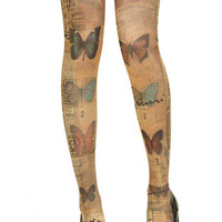 New Romantic Butterfly Tattoo Hipster Chic Pantyhose Winter Autumn Stockings Tights Full Leggings 80D Soft Smooth Stretch #(TS-022-BUT)