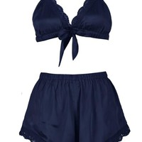 Isobel Satin Bow Bralet & Short Set | Boohoo