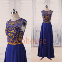 Dark Royal Blue Long Prom Dresses with Gold Beads , Open Back Evening Dresses, New Party Dresses ,Homecoming Dresses , Wedding Party Dresses