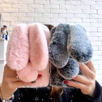 3D Rabbit Warm Fur Hair Case For Samsung Galaxy S9 Plus S9+ S8 Plus S8+ Case For iPhone 6 6S 7 8 Plus X 10 Cover With Jewelry